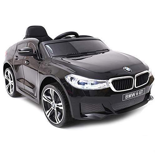 ATAA BMW 6 GT Licenciado 12v - Negro - Coche eléctrico para niños batería 12v con Mando Control Remoto Padres