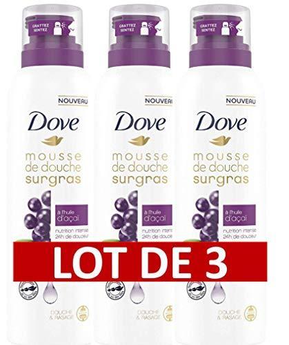 DOVE Surgras Mousse de Douche Infusée à l'Huile d'Acaï 24h de Douceur - (Lot de 3 x 200 ml)