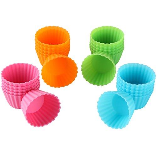 Bakerpan Silicone Mini Cupcake Holders, Mini Cupcake Liners, Pastry & Dessert Cups, 24 Pack (Multi)