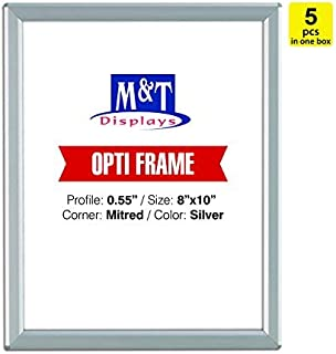 M&T Displays 8x10 Snap Frame, Mitered Corner, Opti Frame, Aluminum, Wall Mounted Frames - Silver / 5pcs / $8.75 Each