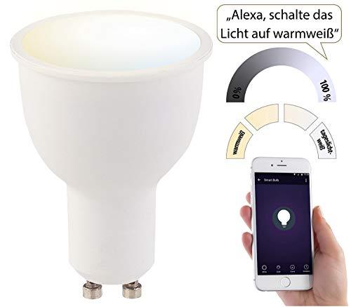 Luminea Home Control Funk Lampe: WLAN-LED-Lampe, komp. zu Amazon Alexa & Google Assistant, GU10, CCT (Leuchtmittel GU10 dimmbar)