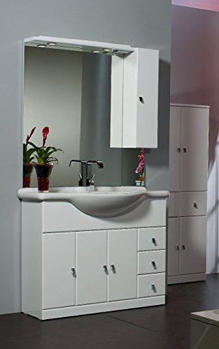 Bagno Italia Mobile Arredo Bagno da 105 cm bianco lucido con lavabo in ceramica e specchio Mobili l