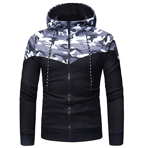 Men Tops Men Hoodie Hooded Jacket Full Zipper Comfort Patchwork Men Top Autumn New Sports Style Casual Outdoor Sports Jogging Men Hooded Jacket Fashion Men's Tops Z-Gray M