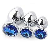 3Pcs/Set Stainless Steel Crystal Bûtt Pl'us Kit-Jewelry Beads Massage Ƀụtt Plụg Toys Jeweled Back Massage Toys for Couple/Trainer MOREDOU (Color : Blue)