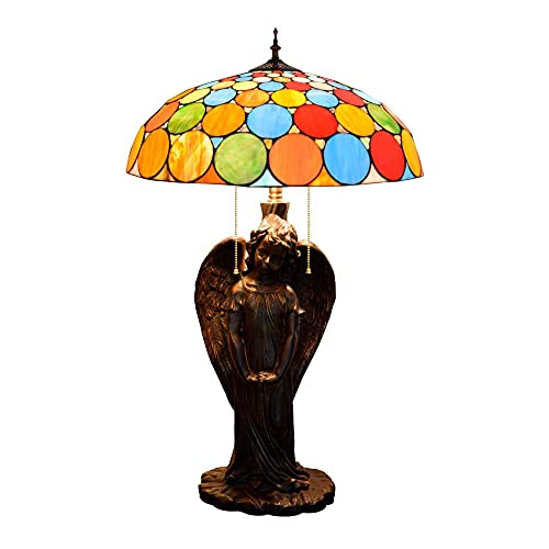 MISLD Table Lamp, Tiffany Style Table Lamp With Color Points And Angel Glass Base Girl Lamps