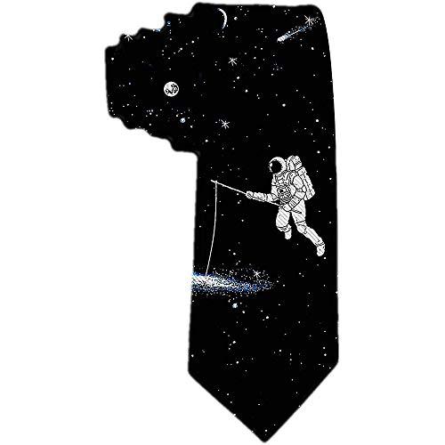 Corbata de los hombres AstroNAuta pescando en Galaxy Divertida corbata de seda de poliéster