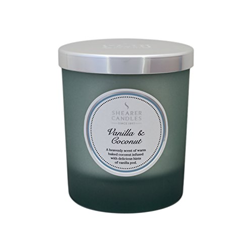 Shearer Candles Vanilla and Coconut Scented Jar Candle with Silver Lid - Grey