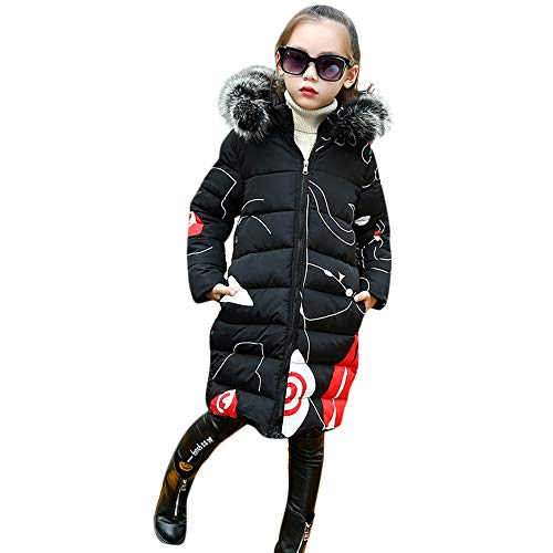 Baby Toddler Girls Winter Warm Jacket Clothes 3-8 Years Old Kids Padded Faux Fur Hoodie Coat Long Outerwear (3-4 Years Old, Black)