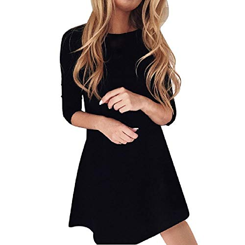 OKJI Fashion Jurk Vrouwen Mini Zwart Jurk Ronde hals Casual Populaire Elegante Lange Mouw Jurk Korte Feestjurk