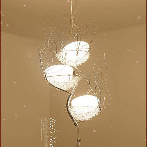 YLLN Lámparas de araña LED Nido de pájaro, Rama Tres Cabezas Moderna Sala de Estar Minimalista Comedor Estudio Arte Iluminación cálida del Restaurante.