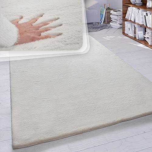 Paco Home Hochflor Teppich Wohnzimmer Kunstfell Super Soft Einfarbig in Versch. Größen und Farben, Grösse:140x200 cm, Farbe:Creme
