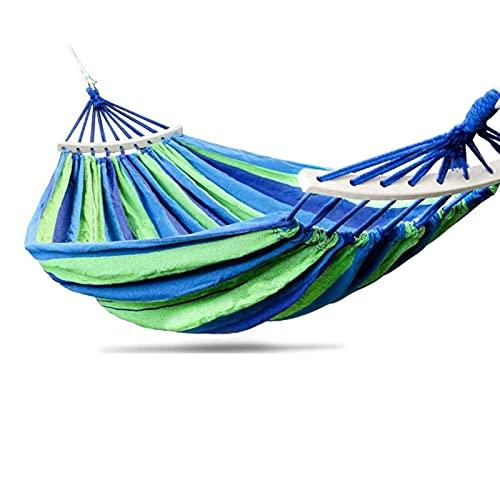 LDH Hamaca de Algodón Al Aire Libre, Hamaca De Camping Anti-Rollover, Sillón De Hamaca Portátil para Mochilero, Camping, Patio Trasero, Jardín, Azul (Size : 200 * 100cm)
