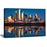 VinMea Wall Art Canvas Trinity River Dallas At Night United States of America Strecthed Poster Picture Ready to Hang Modern Home Art Decor, 12 x 16 Inch