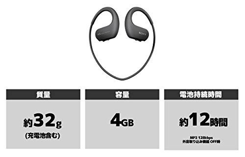 ソニーSONYヘッドホン一体型ウォークマンWシリーズNW-WS413:4GBスポーツ用防水/海水/防塵/耐寒熱性能搭載ブラックNW-WS413B