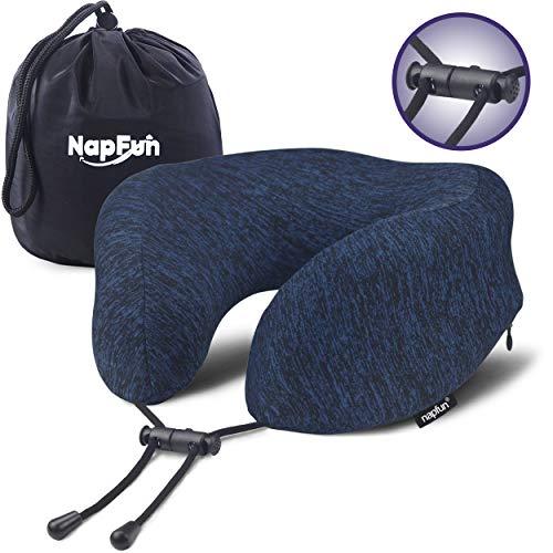NAPFUN Travel Neck Pillow, 100% Pure Memory Foam Neck Pillow for Traveling & Fashion Airplane Neck Pillow for Flight Sleep, Dark Blue