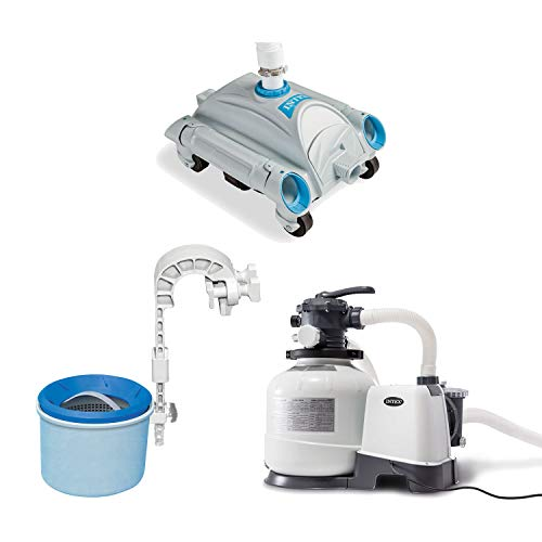 Intex Pool Sand Filter Pump with Pool Vacuum and Wall Mount Pool Surface Skimmer