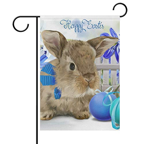 Sweetmen Easter Bunny Rabbit Polyester Garden Flag 28 x 40 Double Sided, Cute Animal Decorative House Flag for Party Home Outdoor Decor