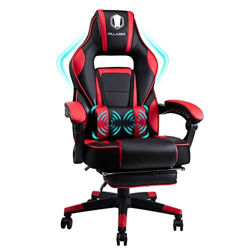 FANTASYLAB KILLABEE Massage Gaming Stuhl PU Leder mit Hoher Rückenlehne PC Racing Computer Schreibtisch Büro Drehbarer Liegestuhl mit einziehbarer Fußstütze und Verstellbarer Lenden Kissen, Rot