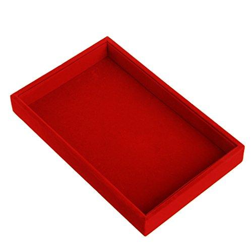 Mentin Bandeja Joyero Terciopelo, Caja Joyero Expositor Joyero–22.5x 14.5x 3cm, Velur, Rojo, Medium