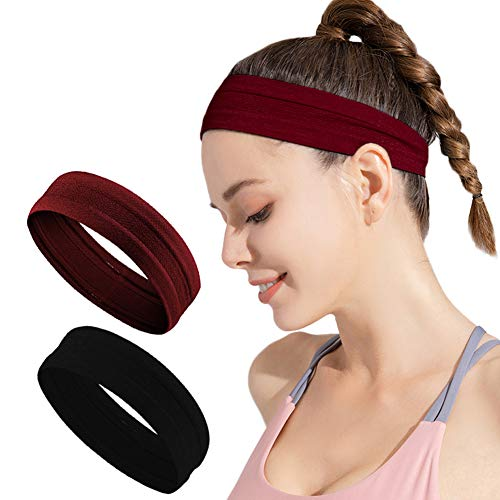 Calbeing Non Slip Headbands for Women Men, Grip Silicone Yoga Sweatband, Stretchy Soft Running Wicking Head Sweat Set, Lightweight Elastic Exercise Band, Workout Sports Indoor Fitness Gym (M-B)