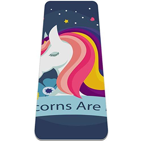 nakw88 Magic Unicorns Are Real Floral Rutschfeste Yogamatte, dicke Übungsmatten, Fitnessmatte für Yoga, Pilates & Boden-Workouts (182,9 x 61 cm x 6 mm) für Frauen und Mädchen