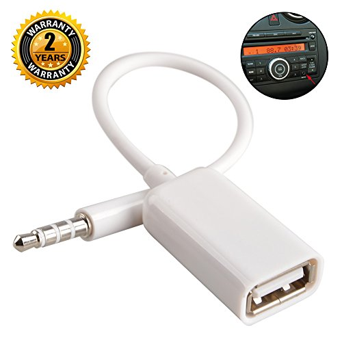 Aux to USB Adapter 3.5mm Macho Aux Audio Jack Enchufe a USB 2.0 Hembra