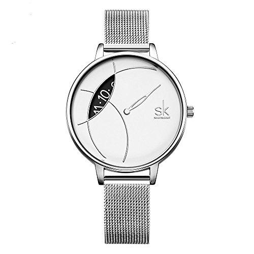 SHENGKE- Reloj de Pulsera para Mujer, Correa de Malla, Elegante, para Mujer, Estilo Simplicidad (K0091-silver-mesh Band)