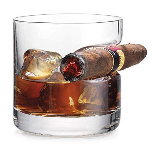 iPawde Bicchiere da Whisky di Whisky, Doppio Vetro Vecchio Stile con Resto di Sigaro Incorporato, Adatto per Whisky, Scotch, Birra, Vino (Tondo)