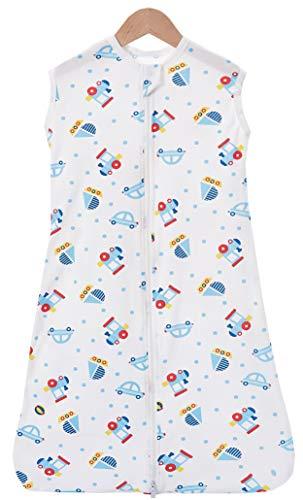 Chilsuessy Sommerschlafsack Baby Schlafsack Kleine Kinder Schlafanzug ohne Ärmel für Sommer und Frühling 100% Baumwolle (130/Koerpergroesse 130-150cm, Cartoon Fahrzeug)