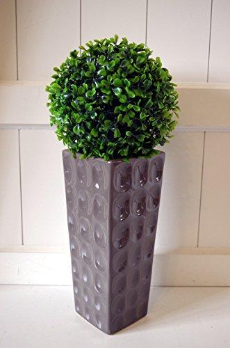 HKT Home Deco Vase aus Keramik Elegante Blumenvase Dekovase Tischdeko Hochzeitsdeko Partydeko Deko braun/Taupe Farben konisch 11x11x29cm