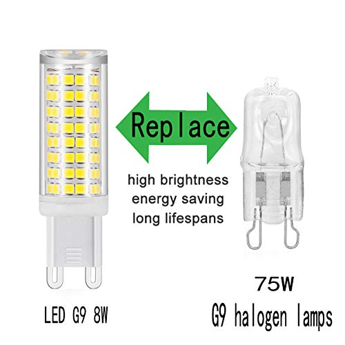 G9 LED Bulb, All-New(102LEDs) G9 Bulbs Replace 75W Halogen Bulbs, Dimmable G9 LED Bulbs, 720Lumens, 360° Beam Angle LED Corn Bulb, 5-Pack (White)