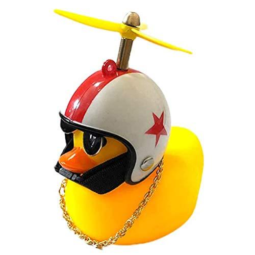 Juguete de pato para coche, diseño de pato amarillo, decoración de salpicadero con casco de hélice para adultos y niños de 12 lúmenes de luz amarilla, 45 decibelios efecto de sonido pato juguete