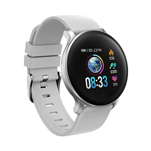 moreFit Fitness Armband Uhr, Smartwatch Fitness Tracker mit Pulsmesser Wasserdicht IP68 Fitness Uhr Pulsuhr Schrittzähler Uhr für Damen Herren Anruf SMS SNS Beachten, Grau