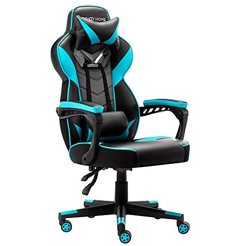 Gaming Office Chair High Back Computer Chair Leather Desk Chair Racing Executive Ergonomic Adjustable Swivel Task Chair (Blue)