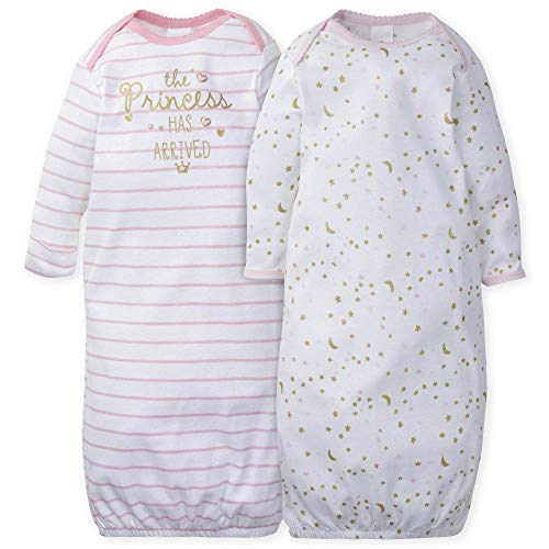 Gerber Baby Girls' 2-Pack Gown, Pink Princess Arrival, 0-6 Months