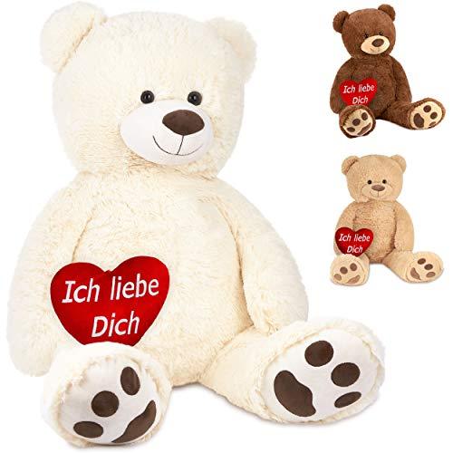 Brubaker XXL Teddybär 100 cm Weiß mit einem Ich Liebe Dich Herz Stofftier Plüschtier Kuscheltier