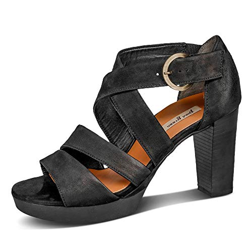 Paul Green Paul Green 6657-062 Damen Sandalette aus Lederimitat leichte und flexible Sohle, Groesse 35 1/2, schwarz