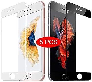 واقي شاشة 5 Pcs Full Cover Tempered Glass Compatible with iPhone 7 8 6 6s Plus Screen Protector Compatible with iPhone X X...