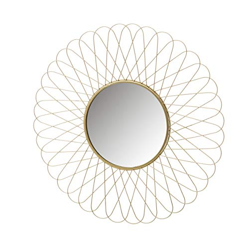 Espejo Flor Dorado de Metal de Ø 56 cm -