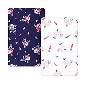 crib bedding and baby bedding tillyou microfiber floral pack n play sheets, mini portable crib sheets set fitted for girls, silky soft breathable printed playard playpen sheets, navy & white rose