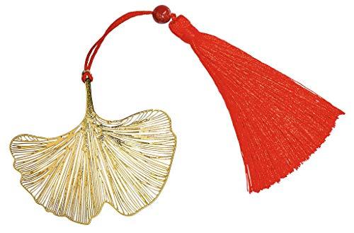 Moses Omm for you Lesezeichen Ginkgo | Zum Markieren der Seiten | Bookmark aus Metall in Gold | Mit Bommel-Anhänger in Rot