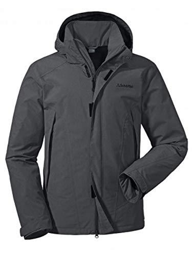 Schöffel Jacket Easy M3, wasser- und winddichte Allwetterjacke für Männer, leichte und atmungsaktive Herren Regenjacke Herren, asphalt, 46