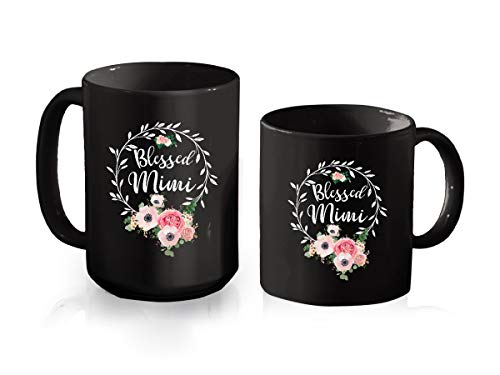Blessed Mimi Mug For Women - Floral Mimi 2021 Vintage Black Cup For Mothers Day, Grandma Mug From Granddaughter, Grandson Coffee Cup Ceramic Mug 11oz (Black;11oz)