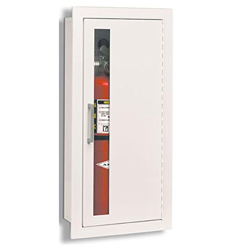 JL Industries Fire Extinguisher Cabinets White, Fully Recessed, Flat Trim, Vertical Duo Door 1815V10