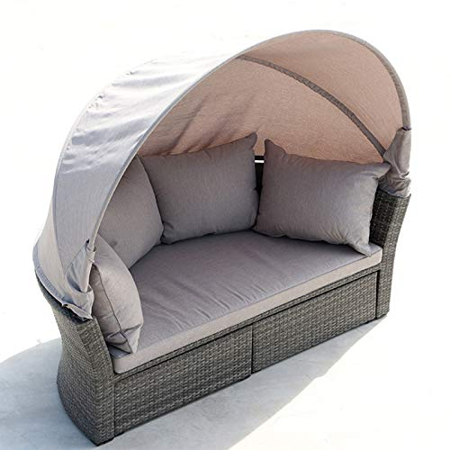SND-A Patio Furniture Outdoor Round Daybed with Shading Retractable Canopy Wicker Rattan Separated Seating Sectional Sofa for Patio Lawn Garden Backyard Porch Pool