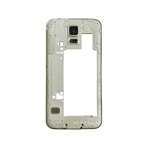 Rinbers Silver Middle Frame Bezel Chassis Rear Camera Panel Housing Replacement Part for Samsung Galaxy S5 G900F/G900H/G900A/G900T/G900V/G900P