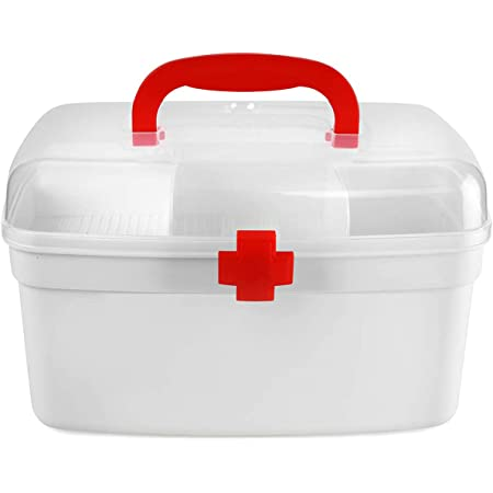 DALUCI Plastic Durable Portable Medicine Storage Organizer First Aid Box with Handle (Transparent , Red-2500 ml)
