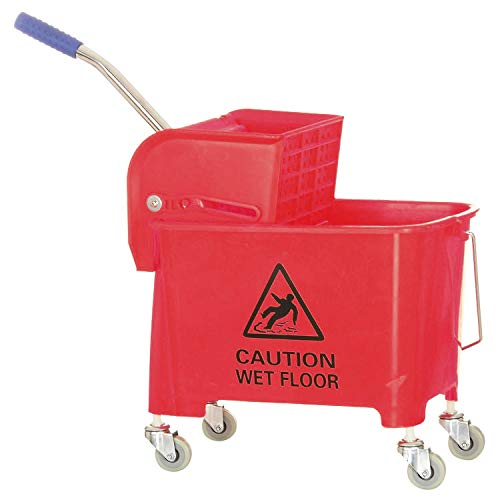 Dhwani Enterprise Mini Mop Bucket Wringer Trolley (20 LTR, Red) ABS Plastic Material WITH CHECK DUSTER CLOTH FREE