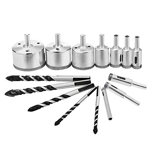 Drill Bit Set, 10 pcs Diamond Hole Saw Sets and 5 pcs Twist Drill Bits, HSS Tungsten Steel Tip Great for Ceramic Marble Granite Glass and Ceramic Tile Brick Wall