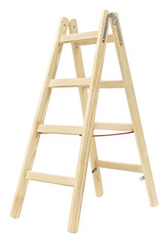 Hymer Holz Sprossenstehleiter 2x4 Sprossen (Leiter beidseitig begehbar, Spreizsicherung, stabiler Eimerhaken) 7141008